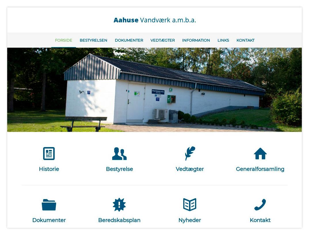 Aahuse Vandværk hjemmeside